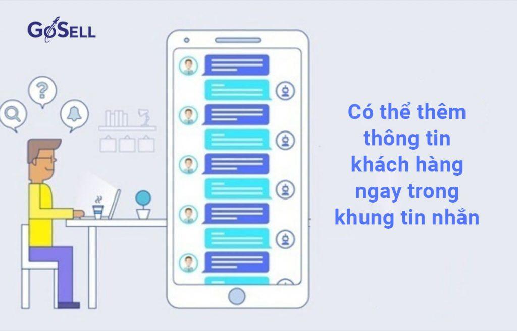 Có thể thêm thông tin khách hàng ngay trong khung tin nhắn