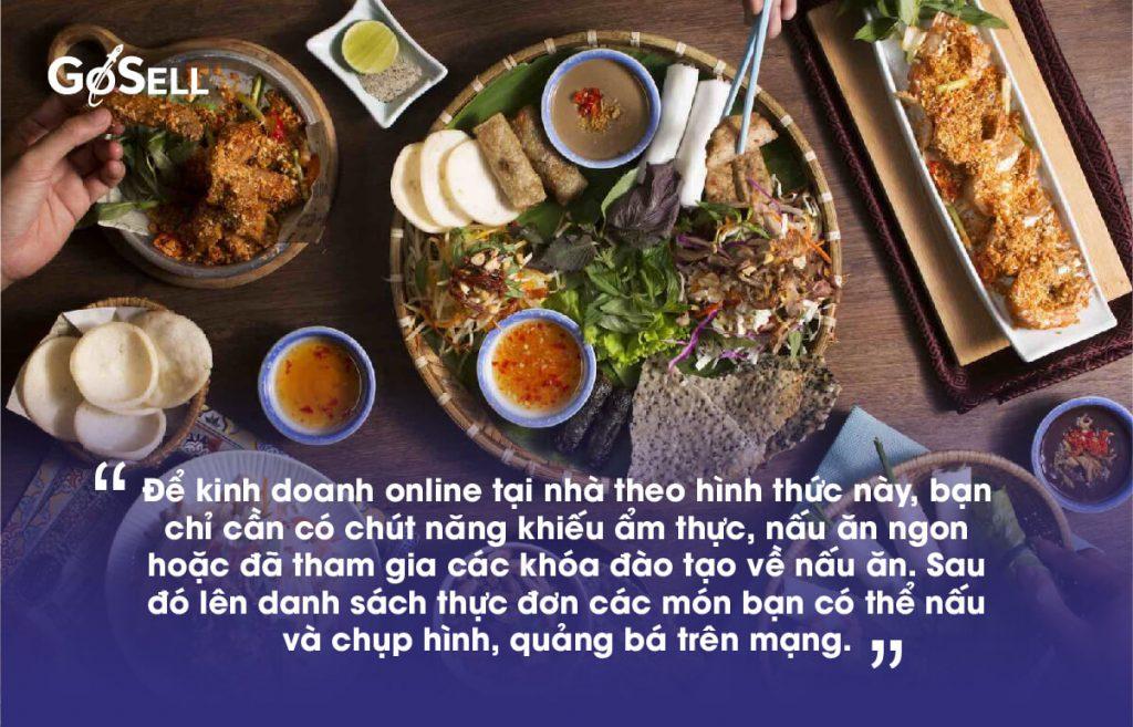 Kinh doanh online tại nhà với đồ ăn