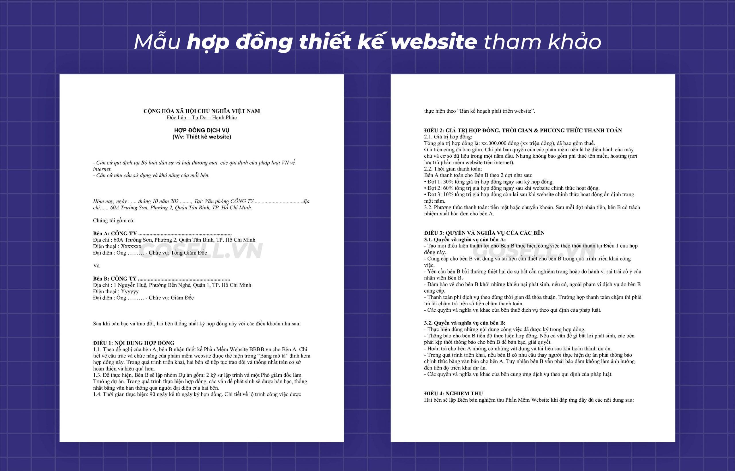 Mẫu hợp đồng thiết kế website