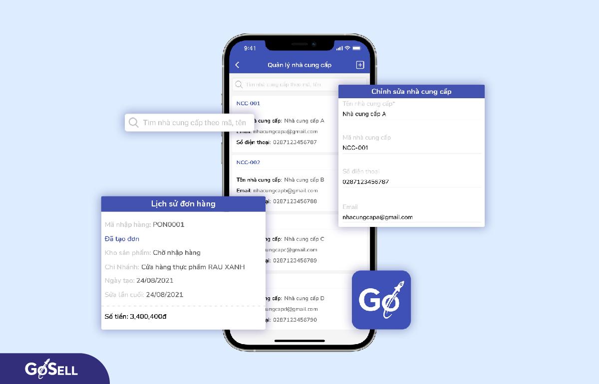 Quản lý nhà cung cấp trên ứng dụng GoSELLER