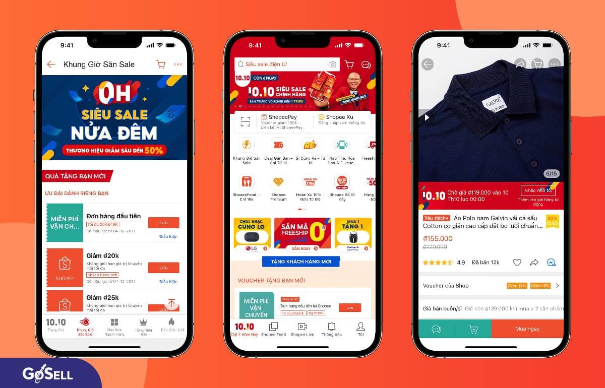 App bán hàng online shopee