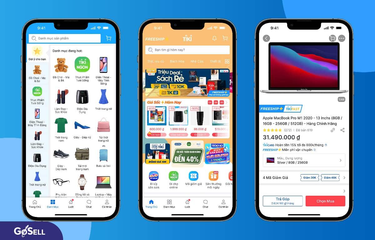 App bán hàng online Tiki